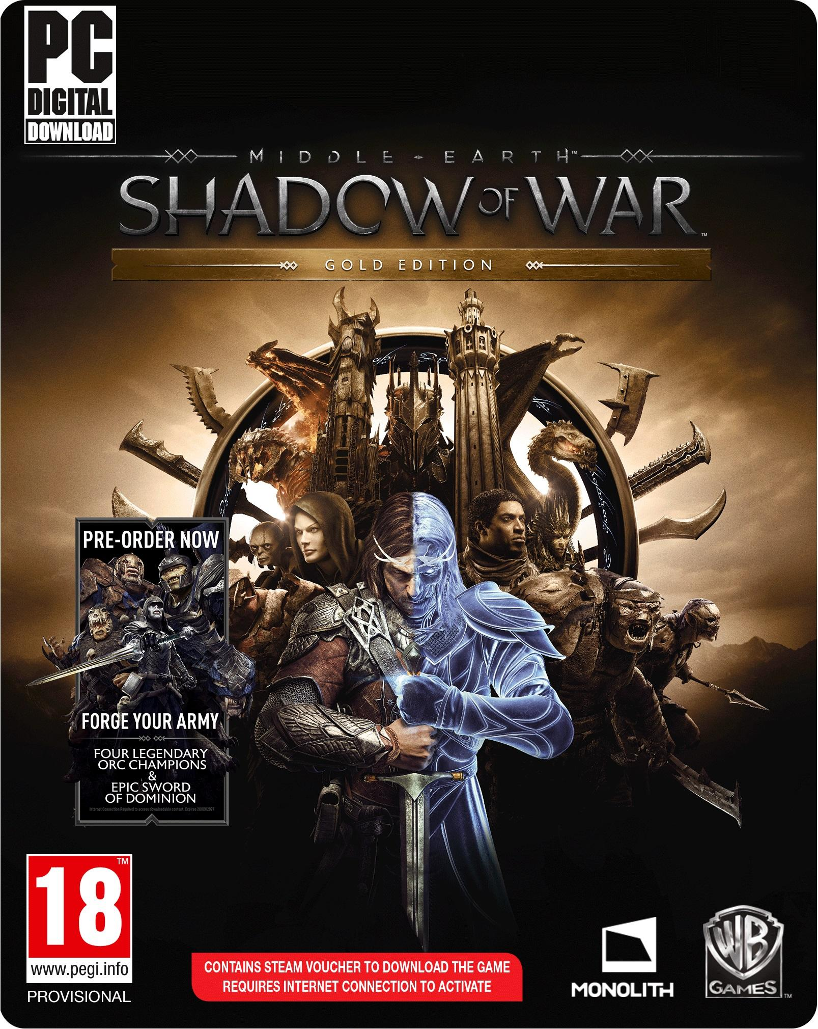 Middle-Earth Shadow of War Gold PC Gold Edition med Season Pass