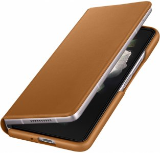 Samsung Leather Flip Cover for Galaxy Z Fold3 - Brun