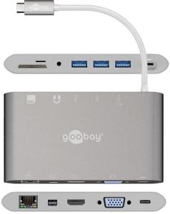 Goobay All-in-1 USB-C Multiport Adapter - HDMI, MiniDP, 3 x USB 3.0