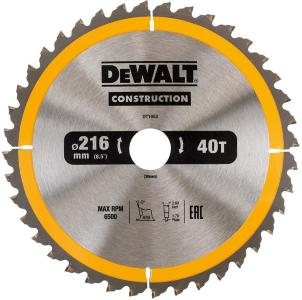 Sagblad for tre DeWalt 216x2,6x30,0 mm Z40 -5°