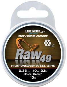 Savage Gear Raw 49 Wire 0,54mm. 10m, Uncoated Brun stålwire
