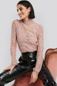 NA-KD Party NA-KD Party High Neck Lace Top - Pink 1017-000491-0115