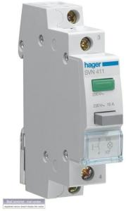 Hager Latching 1no pushbutton + green led 230v SVN413