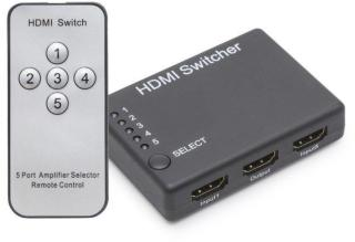 HDMI-switch med fjernkontroll, 5-veis