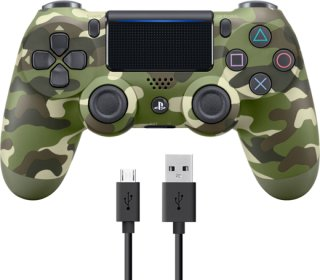 Sony Dualshock 4 Controller v2 - Green Camo + COOLGEAR - USB to Micro USB 3m Charge Cable Green Camo  234F9H