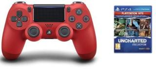 Sony Dualshock 4 Controller v2 - Red + Uncharted: The Nathan Drake Collection (Playstation Hits) (Nordic)   2358VD