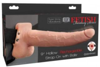 Elastic Strap-On with 9 Hollow Dildo 10 Functions USB Flesh