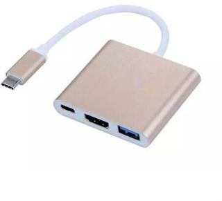 USB Typ C Adapter till HDMI / USB 3.0  - Gull